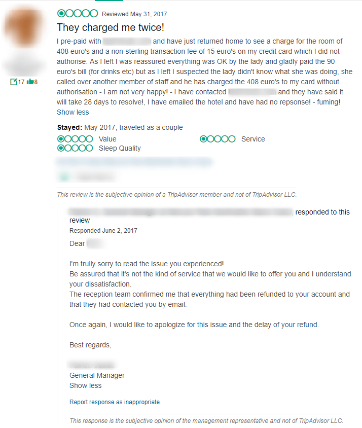 example of negative hotel review
