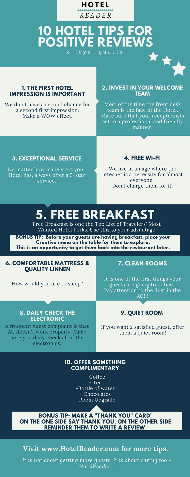 Tips for positive hotel reviews infographic